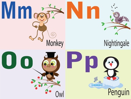 Animal alphabet M,N,O,P. Vector