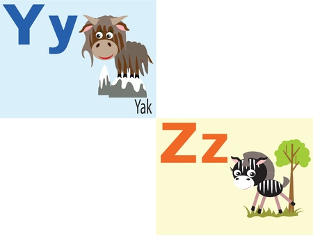 Animal alphabet Y,  Z. Vector