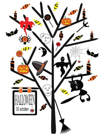 Vector Halloween tree Vector