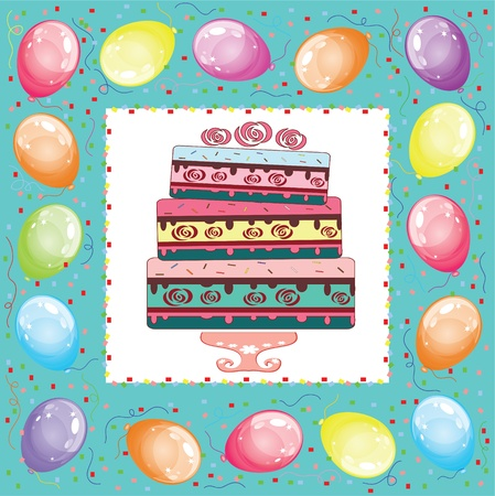 float fun: Square birthday card.  Illustration