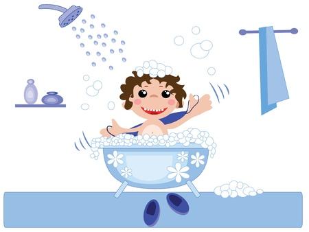 personas banandose: Chico en el baño, vectores