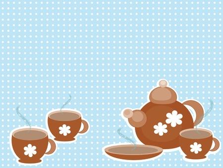 Background with tea set Vector