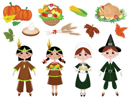 Thanksgiving day,set icons Vector