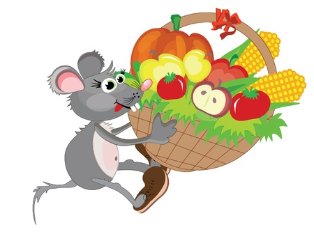 Thanksgiving day,,mouse with basket Vector