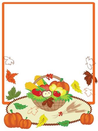 calabaza caricatura: Acción de Gracias día, marco lindo.