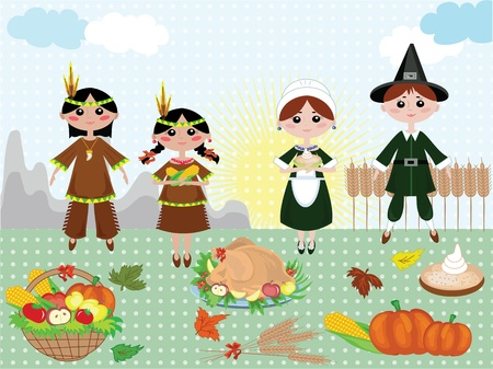 Thanksgiving day,background with indians and piligrims Vector