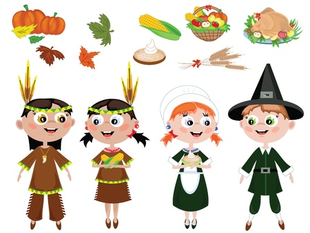 comida americana: D�a de Acci�n de Gracias. Iconos Vectores