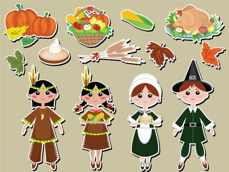 indian thanksgiving: Thanksgiving day, vector set icons