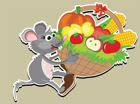 vegetable basket: Thanksgiving day,mouse with big basket,vector