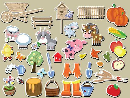 wooden horse: Agriculture set Illustration