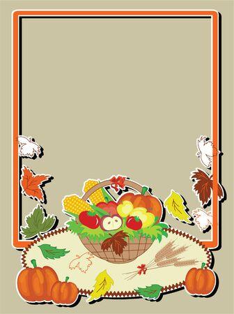Thanksgiving day,vector frame. Stock Vector - 10624540