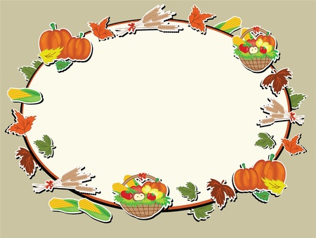 Thanksgiving day oval frame Vector