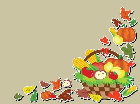 Thanksgiving day,background with basket Stock Vector - 10624541