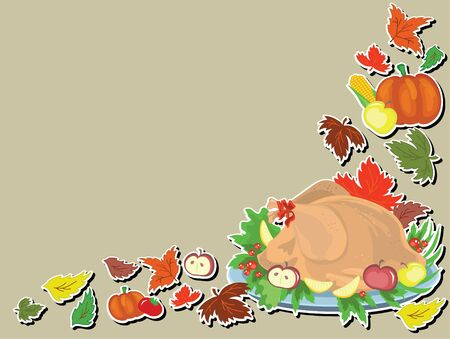 Thanksgiving Day,,background with cook turkey Stock Vector - 10624539