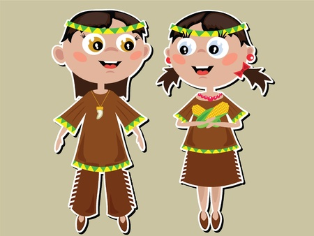 Thanksgiving Day, Indian  kids  on the olive background. Vector