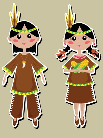 Thanksgiving Indians  couple Vector