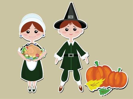 Thanksgiving Pilgrims couple Vector