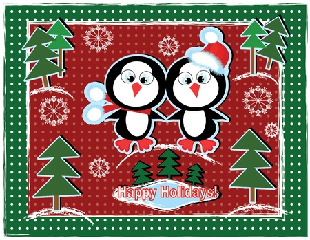 Christmas background with penguins. Иллюстрация