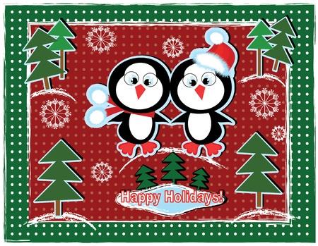 Weihnachten Hintergrund mit Pinguinen.