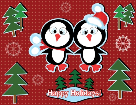 Christmas background with penguins. Vector
