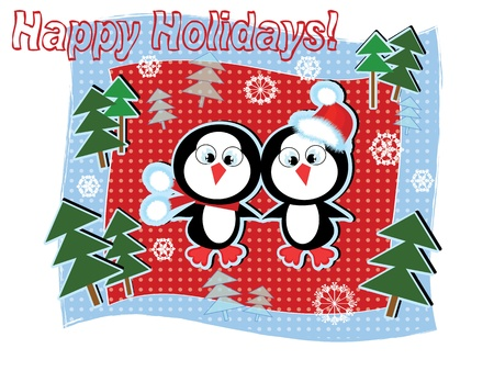 Christmas background with penguins. Stock Vector - 10685061