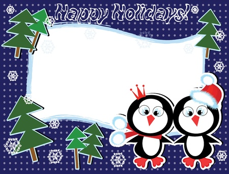 Christmas frame with penguins. Vector