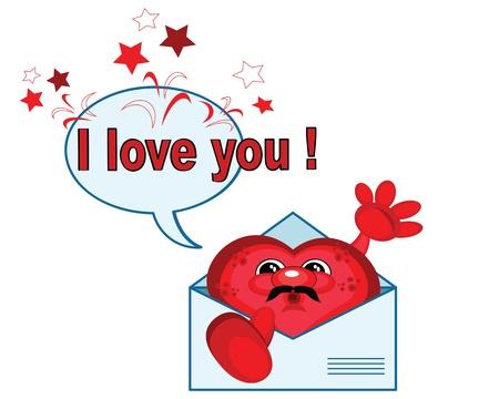 hello heart: Heart in the letter,vector  Illustration