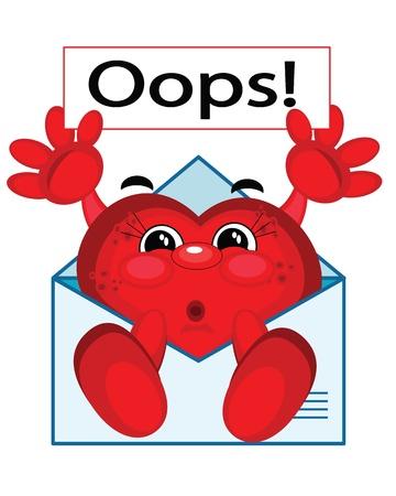 oups: Coeur rouge avec la banni�re �Oops�, vecteur