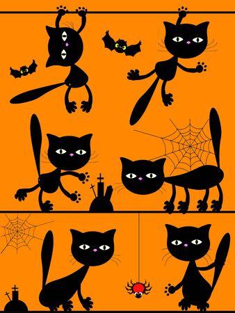 pounce: Halloween ,cats Stock Photo