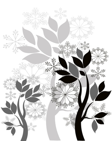 black and white leaf: Christmas background,vector  Illustration