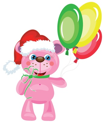 Bear with balloons. Vector