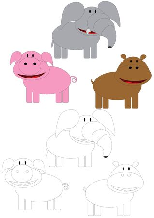 Pig,elephant and hippo to painting. Vector