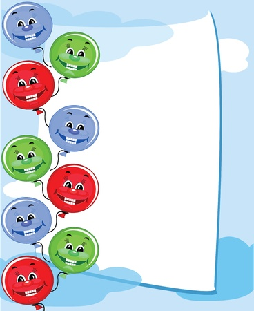 Funny balloons in the blue sky, frame Vector