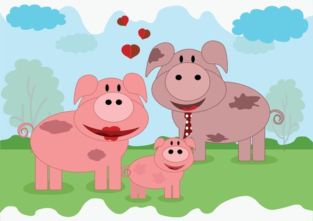 family with one child: Pigs family Illustration