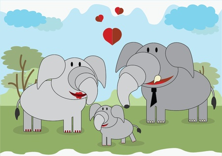 Elephants family Vector
