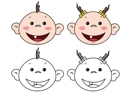 Cute babies face Vector