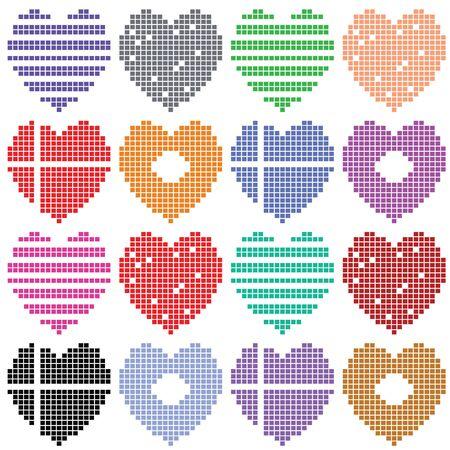 varicolored: Varicolored hearts set