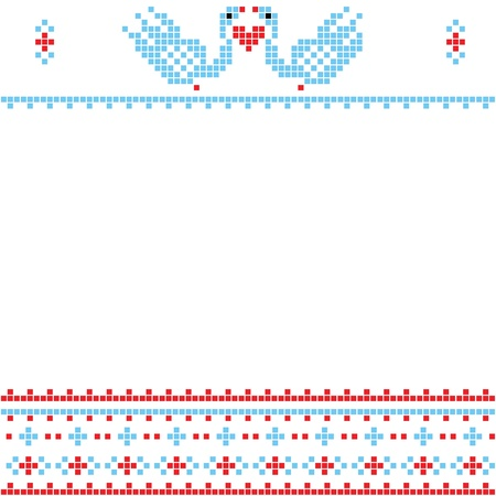 red cross red bird: The scheme for embroidery