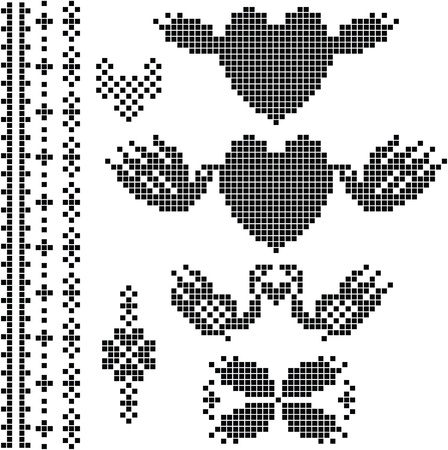 dating strategy: Wedding set ,the scheme for embroidery Illustration