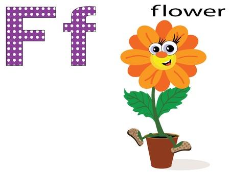 english alphabet: Children alphabet,F Illustration
