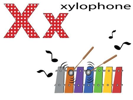 xylophone: Children alphabet,X Illustration