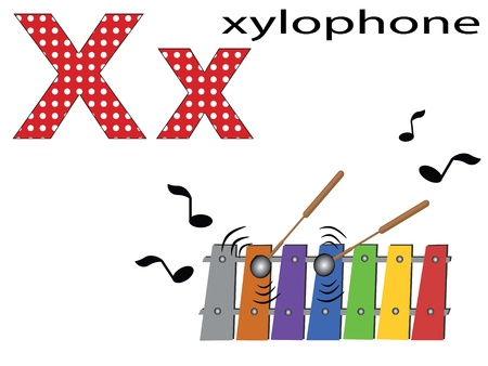 xilofono: Niños alfabeto, X Vectores