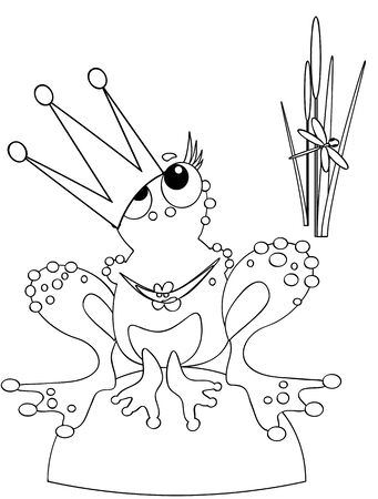 Frog-queen,coloring Vector