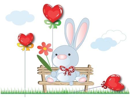 cute rabbit: Valentine card