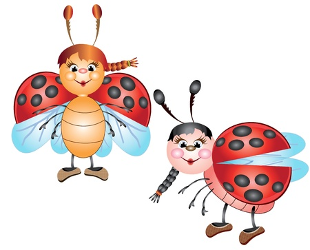 Two cute ladybugs Vector