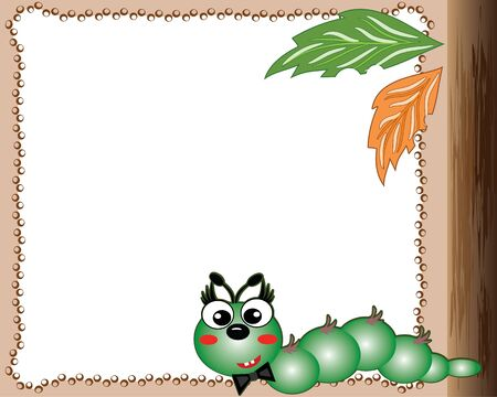 cute border: Frame with worm.