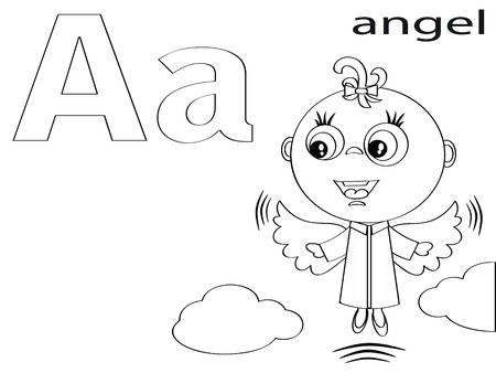 Coloring Alphabet for Kids ,A Vector