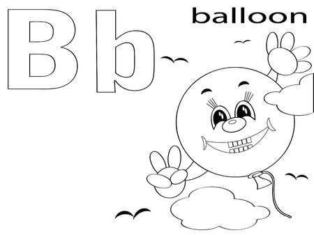 clip art draw: Coloring Alphabet for Kids ,B