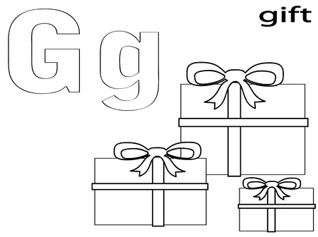 Coloring Alphabet for Kids ,G Vector
