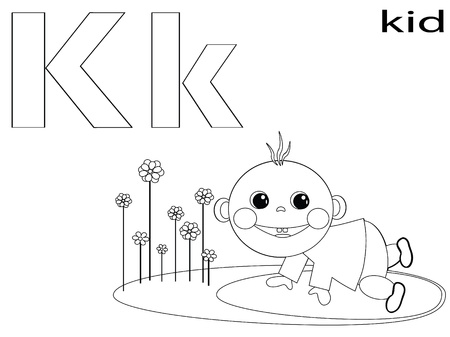 Coloring Alphabet for Kids, K Stock Vector - 12248659